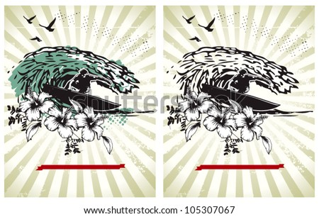 surf posters with riders and big waves - stock vector