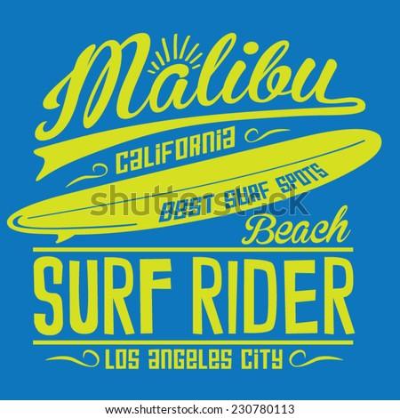 Surf rider typography, t-shirt graphics, vectors - stock vector