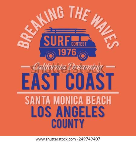 Surf Santa Monica typography, t-shirt graphics, vectors - stock vector