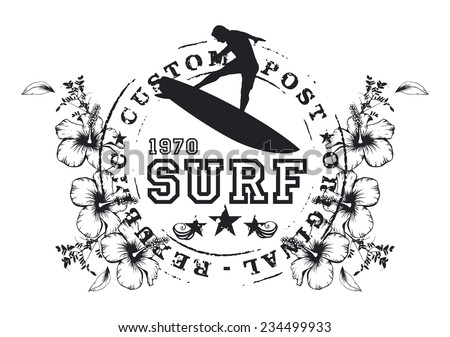 surf seal with rider and hibiscus - stock vector