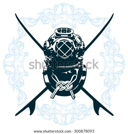 surf shield with diving suit - stock vector