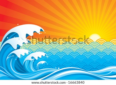 Surf sun abstract, vector illustration layers file. - stock vector