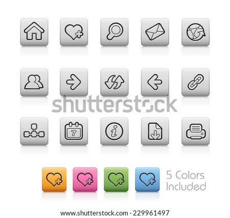 Surf the Net // Outline Buttons  ++ Each color in a layer - To select only the desired color, we suggest to block the others colors on the Layer Panel¨++  EPS 10+ - stock vector