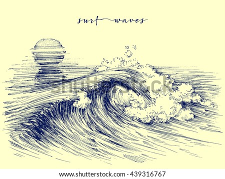 Surf waves. Sea waves graphic. Ocean wave sketch - stock vector