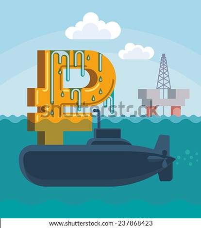 Surfacing of Russian rouble on the hull of military submarine. Conceptual vector illustration. - stock vector