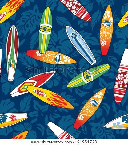 Surfboard hibiscus pattern seamless - stock vector