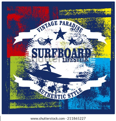 surfboard lifestyle shield with surfer - stock vector