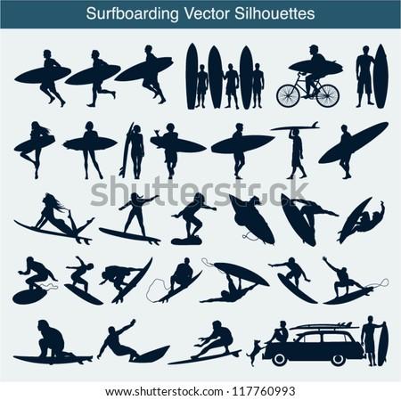 Surfboarding vector silhouettes - stock vector