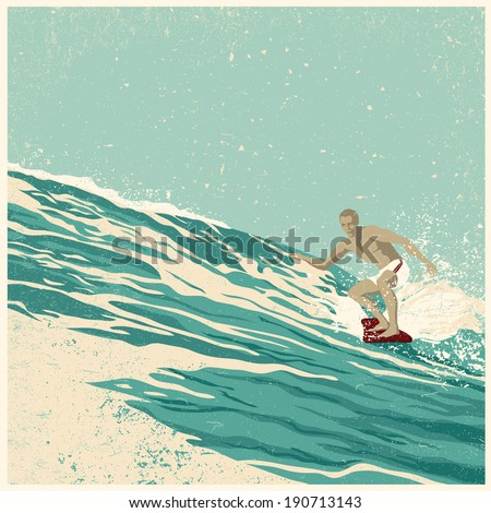 Surfer and big wave. vector illustration. grunge effect in separate layer.  - stock vector