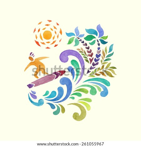 surfer and big wave. watercolor illustration - stock vector