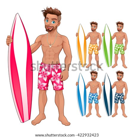 Surfer boy, in different colors. Vector isolated characters.  - stock vector