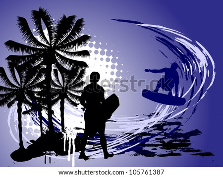 surfer on summer background - vector - stock vector