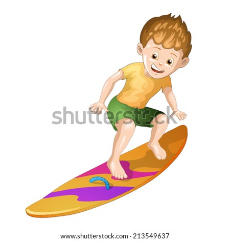 Surfer on white background - stock vector