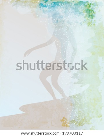 SURFER / Retro card with silhouette of person on the board    - stock vector