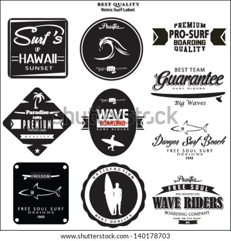 surfer vector set.vintage surf elements.vector retro surf label set. - stock vector