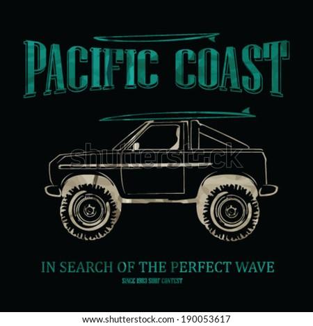 surfer vector set.vintage surf elements.vector retro surf label set.Long beach surf story vector element. surf riders. vector surf print surf world cup.surf car retro vector print. - stock vector
