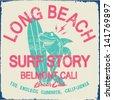 surfer vector set.vintage surf elements.vector retro surf label set.Shark cartoon hero.Long beach surf story vector element.shark surf riders.shark cartoon vector surf print - stock vector
