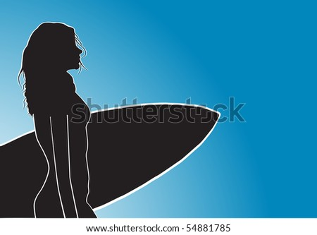 Surfer woman - stock vector