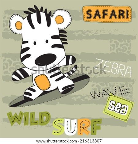 surfer zebra baby on the beach striped background vector illustration - stock vector