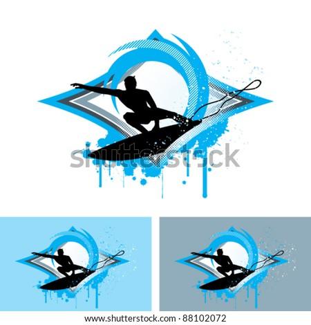 Surfing - stock vector