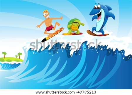 Surfing against Shark and Turtle A man surfing on the sea followed by turtle and shark with sunglasses. - stock vector