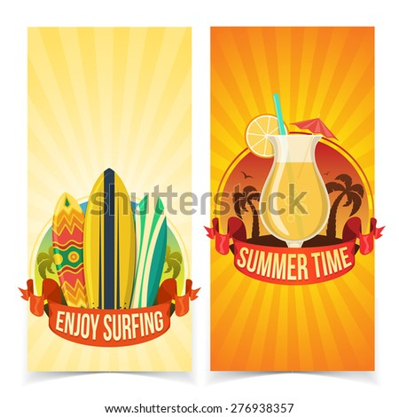 Surfing and partying banners. Summer tropic vacation background design.  - stock vector