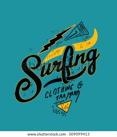 surfing artwork for clothing 5 - stock vector