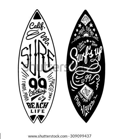 surfing artwork for clothing 4 - stock vector