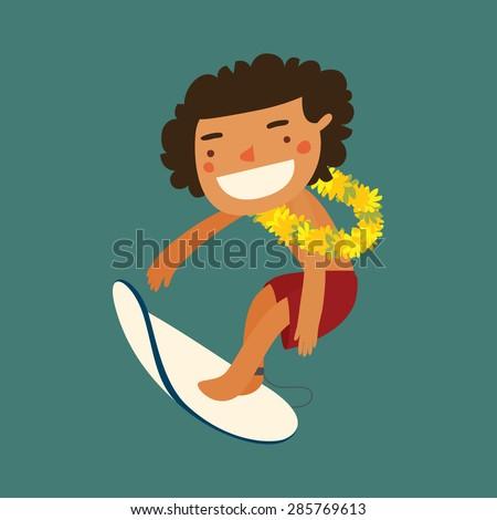 surfing on hawaii guy. flower wreath. vector illustration - stock vector