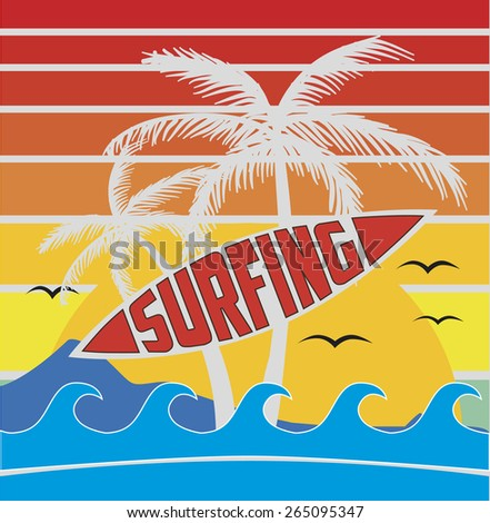 surfing, palm. california. retro style. sunshine.  vector illustration. - stock vector