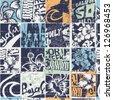 Surfing patchwork, grunge  vector seamless pattern - stock vector