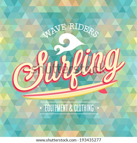 Surfing poster. Vector illustration. - stock vector