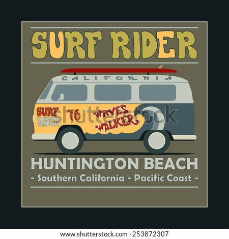 Surfing t-shirt graphic design. Vintage Retro Surf BUS. Surf Lifestyle. Huntington Beach. Surf typography label, summer, ocean, California, retro style emblem - vector illustration - stock vector