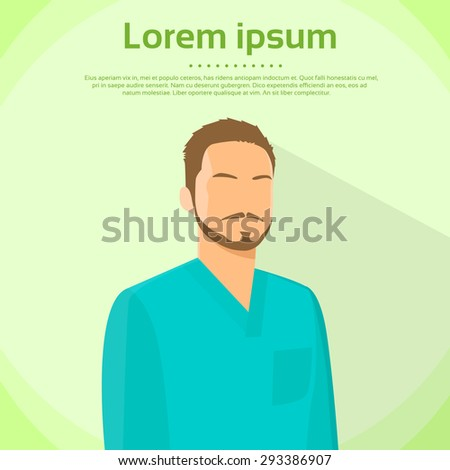 Surgeon Medical Doctor Wear Green Surgery Scrub Suit, Mask And Cap Flat Icon Vector Illustration - stock vector