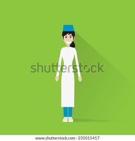 surgeon medical doctor woman wear green surgery scrub suit, mask and cap flat icon vector illustration - stock vector