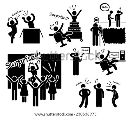 Surprise and Prank Stick Figure Pictogram Icons - stock vector