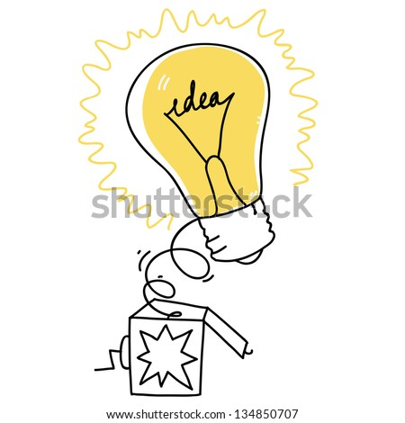 surprise box with idea bulb symbol. cartoon illustration - stock vector
