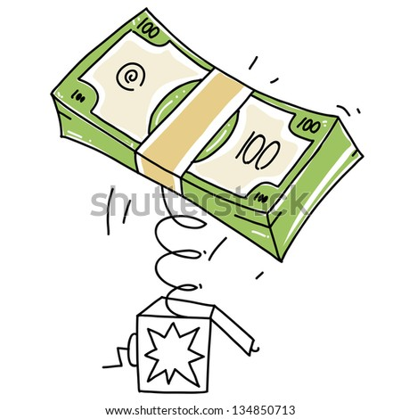 surprise box with money stack. dollars stack cartoon illustration - stock vector