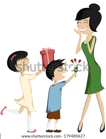 Surprise Mom! Colorful and detailed cartoon-style art with a black-haired daughter and son giving a gift box and a bouquet of roses to their green dressed mother. - stock vector