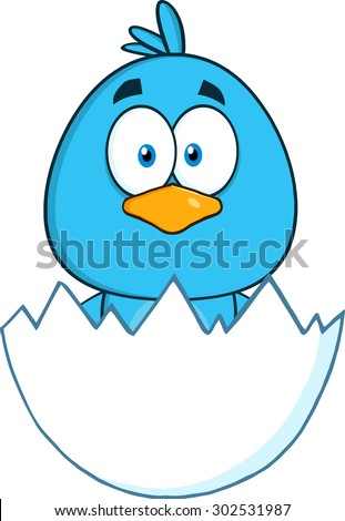 Surprised Blue Bird Cartoon Character Hatching From An Egg. Vector Illustration Isolated On White - stock vector