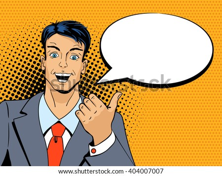 Surprised man pointing finger with speech bubble in pop art retro style. Vintage vector character. Pop art vector background. - stock vector