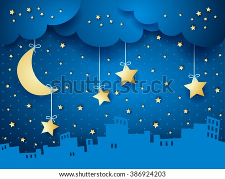 Surreal background with moon and skyline. Vector illustration - stock vector