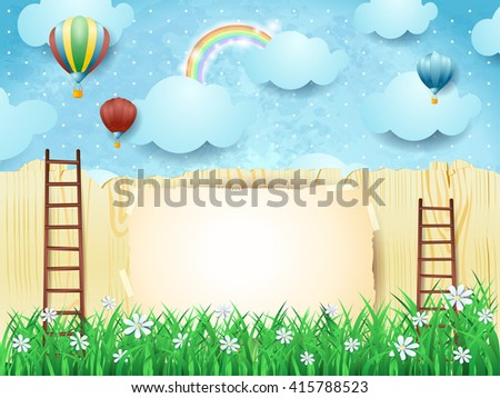 Surreal background with stairs and hot air balloons. Vector illustration  - stock vector