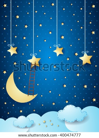 Surreal cloudscape with moon, stars and ladder. Vector illustration  - stock vector