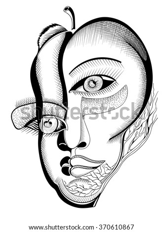 Surreal hand drawing faces, abstract template with black outlines, can use for posters cards, stickers, illustrations, as decorative element. - stock vector