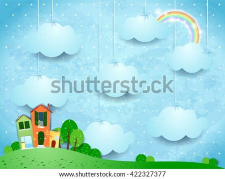 Surreal landscape with hanging clouds and homes. Vector illustration  - stock vector