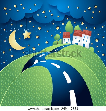 Surreal landscape with road, vector eps10 - stock vector