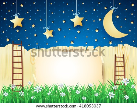 Surreal landscape with stairs, moon and copy space. Vector illustration  - stock vector