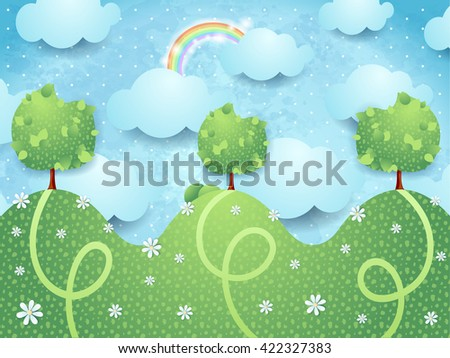 Surreal landscape with trees, vector illustration  - stock vector