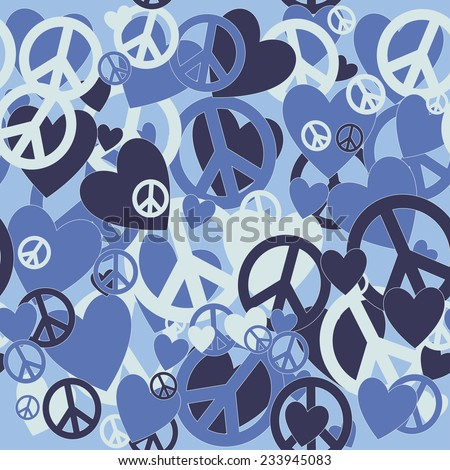 Surreal Military Camouflage Background with Love and Pacifism sign - stock vector